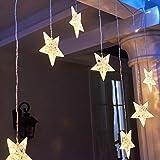 EAMBRITE Estrellas Luces de Cortina de Ventana 90 LED Blanco Cálido 9 Estrellas Luces de Cadena de Cortina Luces de Cadena Centelleantes para Casa Boda Patio Telón de Fondo Navidad…
