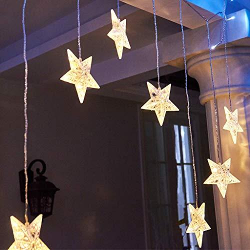 EAMBRITE Estrellas Luces de Cortina de Ventana 90 LED Blanco Cálido 9 Estrellas Luces de Cadena de Cortina Luces de Cadena Centelleantes para Casa Boda Patio Telón de Fondo Navidad