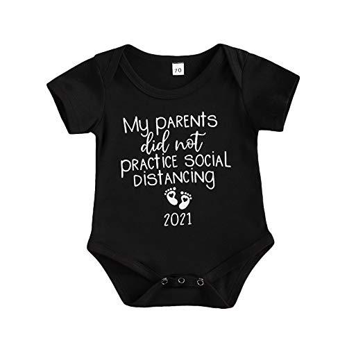 Shejingb Infant Newborn Baby Funny Social Distancing Quarantine Jumpsuit Onesie 2021 Pregnancy Announcement Bodysuit Sleepwear (01-Black, 0-3 Months)