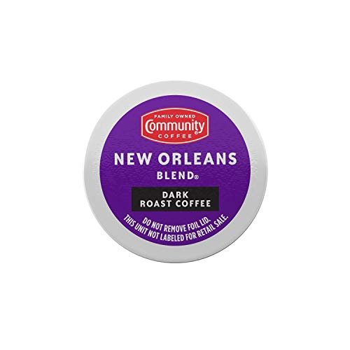 Community Coffee New Orleans Blend Dark Roast Single Serve K-Cup Compatible Coffee Pods, Box of 12 Pods