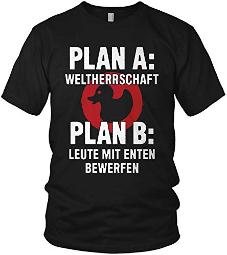 Plan A Weltherrschaft Plan B Leute mit Enten bewerfen Herren T-Shirt und Männer Tshirt, Größe:L, Farbe:Schwarz