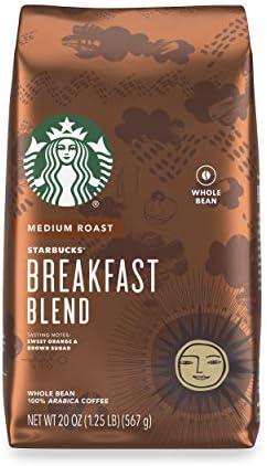 Starbucks Medium Roast Whole Bean Coffee Breakfast Blend 1 bag 20 oz product image