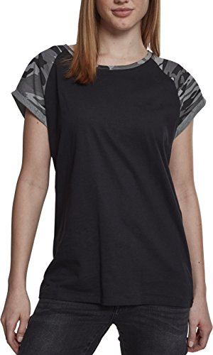 Urban Classics Damen Ladies Contrast Raglan Tee T-Shirt, Black/darkcamo, M