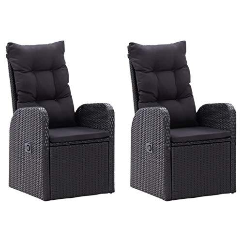 vidaXL 2X Garten Liegestuhl mit Auflagen Gartenstuhl Relaxstuhl Sessel Stuhl Gartensessel Gartenmöbel Hochlehner Poly Rattan Schwarz
