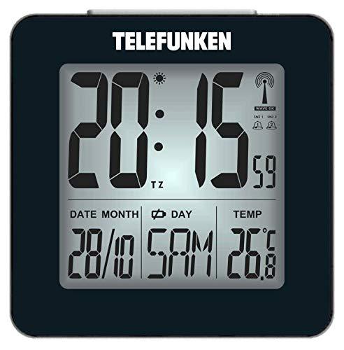 TELEFUNKEN Wecker Funkwecker digital LCD DCF mit Thermometer Temperaturanzeige und Kalender autom. Zeitumstellung schwarz FUD-25H (B)