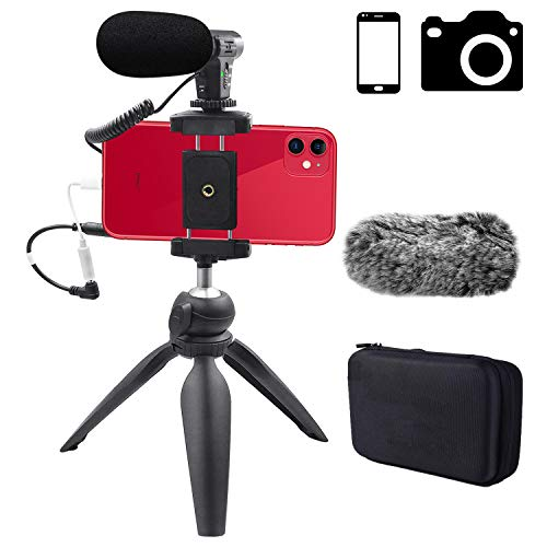 Smartphone Camera Video Microfoon Kit,Veksun ASMR Microfoon voor YouTube Voorruit 3.5mm Jack Externe Mic voor Telefoon iPhone Samsung DSLR Canon Nikon met Mini Statief