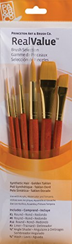 Princeton Art & Brush Synthetisches Gold Taklon Real Value Pinsel-Set, 6 kg