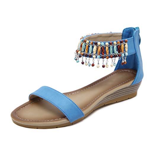 SANDALI con Zeppa Etnici da Donna, Scarpe da Donna String Spiaggia con Perline Casual Scarpe da Gladiatore Taglia 35-42,Blue,8MUS