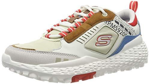 Skechers Monster, Zapatillas para Hombre, Blanco (White Leather/PU/Mesh/Red/Blue/& Brown Trim Wmlt), 40 EU