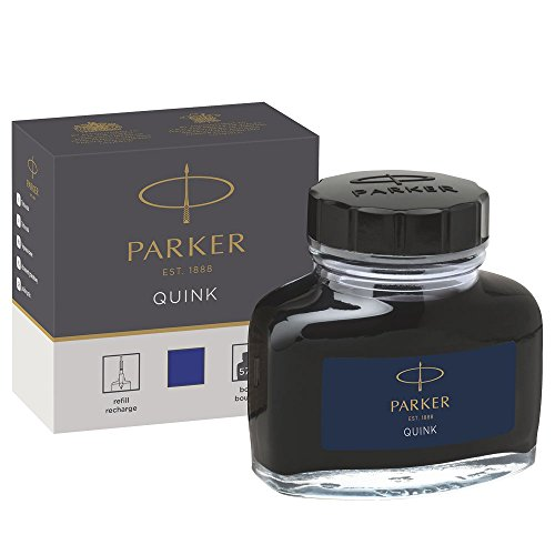 Parker Fountain Pen Liquid Bottled Quink Ink, 57 ml, in a Box - Blue