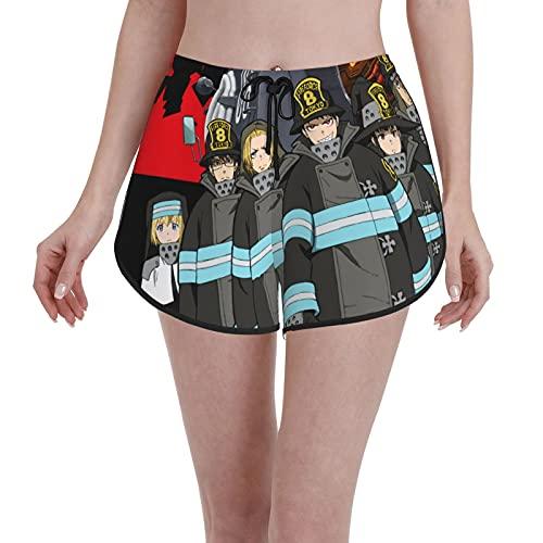 Inaayayi Fire Force - Pantalones cortos de natación para mujer, con cordón, de secado rápido, pantalones cortos de playa, patrones de verano, novedosos, trajes de baño casuales de cintura