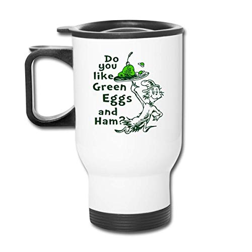 JUKIL Do-You-Like-Green-Eier-und-Schinken-Autotasse Edelstahl Vakuumisolierter Becher Reisebecher Wassergläser Kaffeetassen