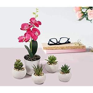 Orquídea artificial con florero de vidrio – Decoración de flores de seda falsa para el hogar / oficina / mesa / jardín…