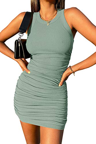 Wenrine Womens Crew Neck Sleeveless Bodycon Dress Ribbed...