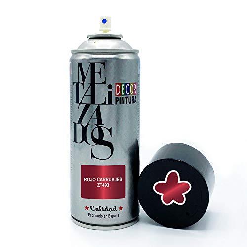 Vernice spray Metallizzata | Vernice Spray Metallizzata Rosso Carrozza | 400 ml | Bomboletta Spray per legno, alluminio, ferro, ceramica, plastica Vernice bomboletta spray metallizzata bici
