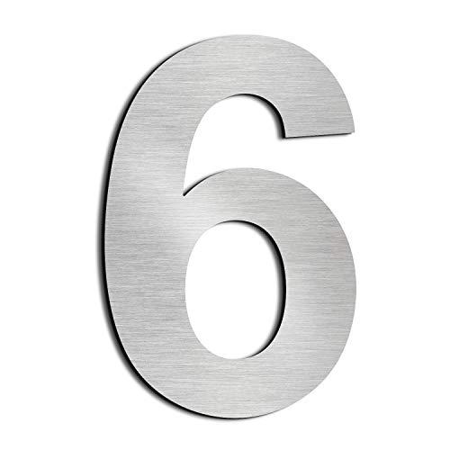 Nanly Moderne Hausnummer aus massivem hergestellt 304-GROß 25.4 Zentimeter /10 Zoll- Gebürsteter Edelstahl, Schwimmendes Aussehen, Einfache Installation(Ziffer 6/9)