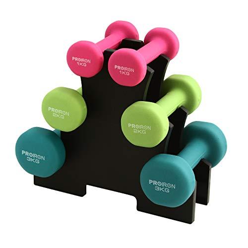 PROIRON Pesi Palestra in Casa Fitness e Palestra Manubri e Pesi Fitness Pesi per Palestra Manubrio (Set di 2) 1-10kg (Set di Manubri 2 x 1 kg, 2 x 2 kg, 2 x 3 kg)