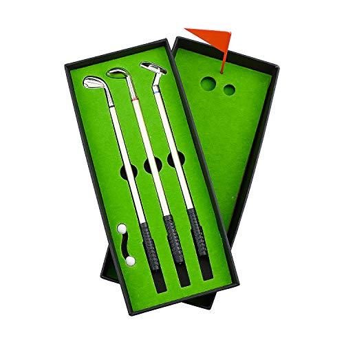 Demason Golfstifte, Golf Set,Golfschläger Kugelschreiber Mini-Golfbälle Golfgeschenkartikel Green 19,6x0,7cm