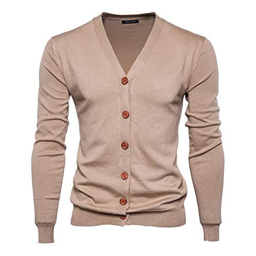 Herrbar Herren Strickjacke V-Ausschnitt Cardigan Baumwollemischung Knopfleiste (Beige, S)