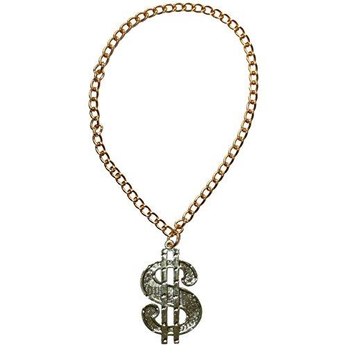 Spassprofi Dollar Medaillon mit Kette für Big Daddy, Gangsta Rapper, Kostüme zum Protzen
