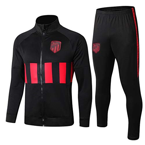 European Football Club Lang Kragen Sportfußballtraining Uniform Dunkel Jujube Schwarz und Rot SweatshirtCMKA0590 (Color : Black red, Size : XL)