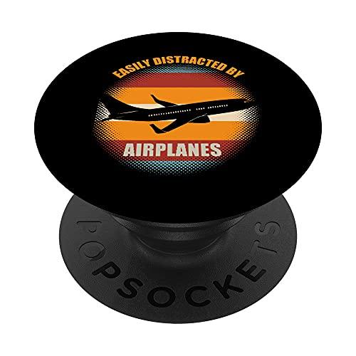 Fácilmente Distraído por Aviones Divertido Piloto Aviación PopSockets PopGrip Intercambiable