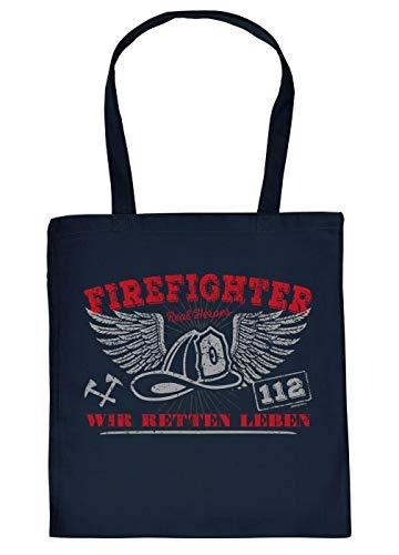 Feuerwehr-Sprüche/Statement Trage-Einkaufstasche/Stoffbeutel mit Druck: Firefighter Wir retten Leben