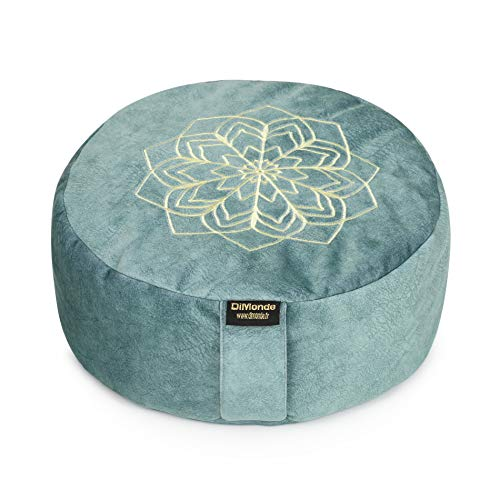DiMonde Zafu - Cojín de meditación y yoga redondo – Funda extraíble y lavable – Relleno de cáscaras de Sarrasin – Asa lateral – Bolsa de algodón – Mandala – Altura 13 cm – Diámetro 33 cm – Verde