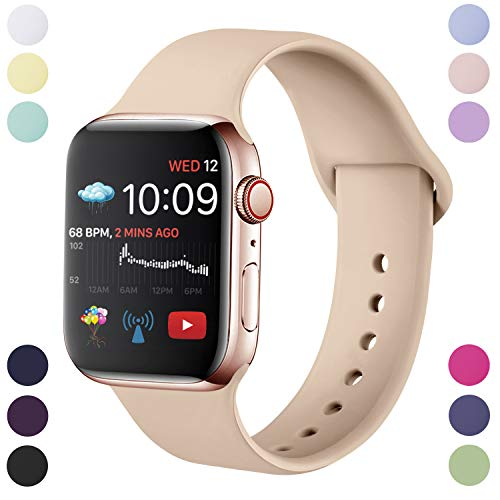 Hamily Correa Compatible con Apple Watch 38mm 40mm, Correa de Repuesto de Silicona Suave para Apple Watch Series 5/4/3/2/1, S/M, Nuez