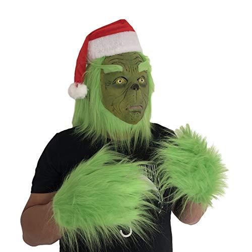 QLPXY Grinch Latex Msak, Natale Ladro di Pelliccia Verde Mostro Cosplay Costume da Babbo Natale Accessori Puntelli (A)