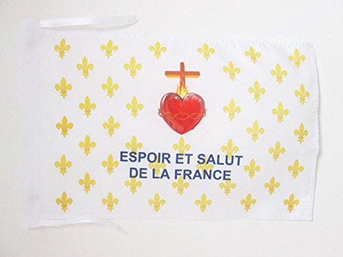 AZ FLAG Drapeau Fleur de Lys Or ESF 45x30cm - PAVILLON royaliste Espoir et Salut de la France 30 x 45 cm Haute qualité