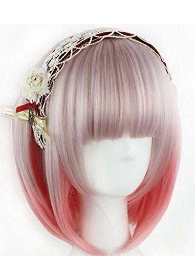 Tsnomore rose et gris Couleur mixte Femmes Bob cosplay perruque synthétique
