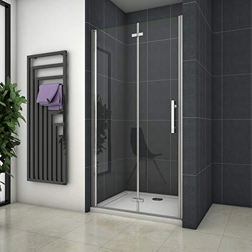 Mampara de ducha Apertura de Puerta Plegable Antical 110x195cm