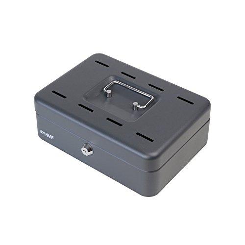 HMF 2088-02 Geldkassette 8 Sparfächer, Spardose, Einwurfschlitze, Sparkassette, 25 x 18 x 9 cm, schwarz