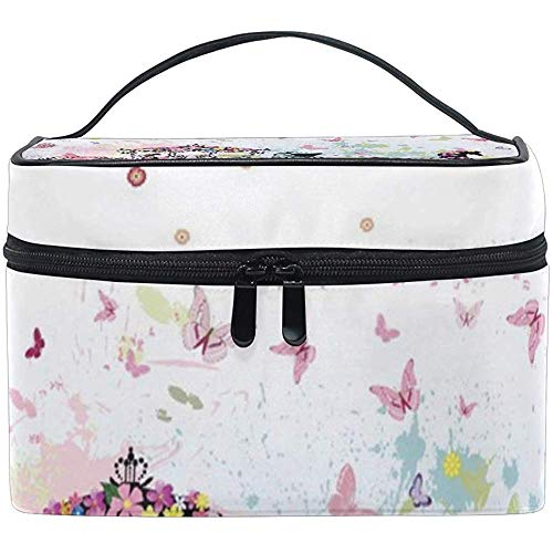 Maquillage Train Case Roman Carriage Horse Butterfly Flower Transportant Portable Zip Cosmetic Bag Makeup Bag