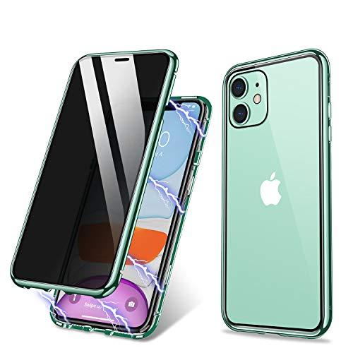ZHIKE Funda para iPhone 11, Funda de adsorción magnética Anti-pío Cobertura de Pantalla Completa de Vidrio Templado Frontal y Posterior Cobertura de privacidad de diseño de una Pieza (Verde Claro)