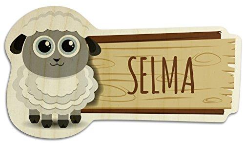 printplanet Türschild aus Holz mit Namen Selma - Motiv Schaf - Namensschild, Holzschild, Kinderzimmer-Schild