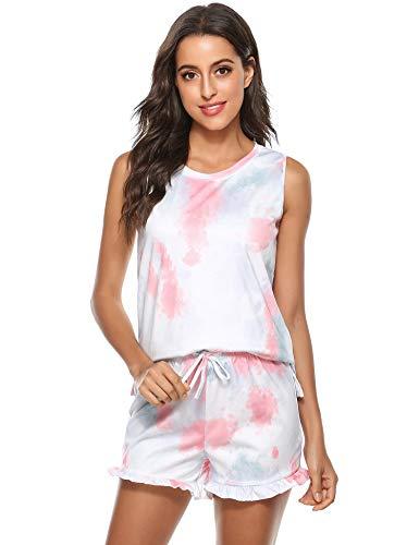 Hawiton Pijamas Mujer Verano Corto cómodo,Fresco Tie-Dye Estampado Ropa de Dormir,Mangas Corto Camiseta y Pantalones con Bolsillos 2 Piezas