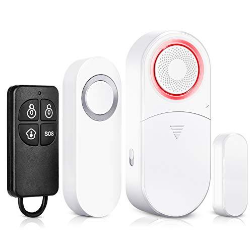 Set di 3 pezzi 2 in 1 campanello wireless e sensore magnetico per apertura di porte e finestre, allarme per porta attivato con allarme antifurto a sirena da 110 dB, con telecomando per casa, ufficio
