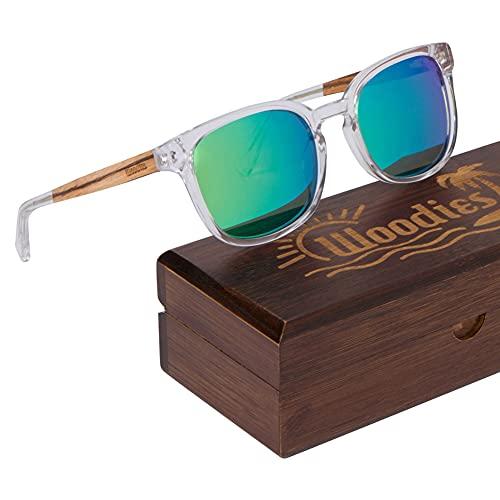 WOODIES - Gafas de sol de acetato transparente con lentes polarizadas en caja de madera (verde)