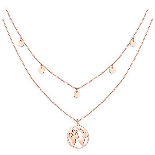Milacolato 2 STÜCKE Damen 5 Coinkette - Edelstahl Halskette Weltkugel Halskette mit Fünf Runde Plättchen mit Weltkarte Anhänger (Kette 40 +5 cm)
