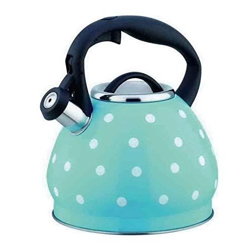 the teapot company Hervidor de té de 3 Cuartos de Acero Inoxidable para Estufa Top Tetera de Lunares, Apertura de un Solo botón y diseño de Cierre, Tetera doméstica (Color : Azul, tamaño : 3L)