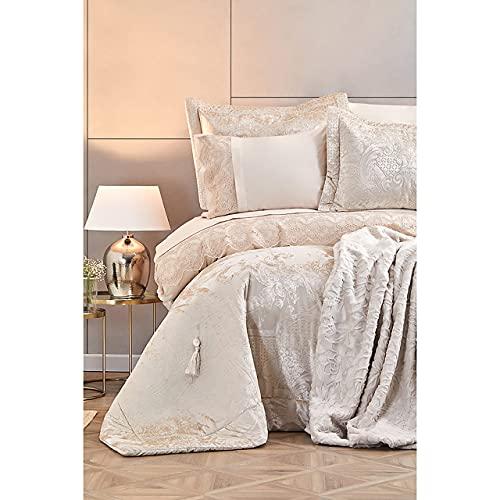 Karaca Home Valeria Royal Gold 10-teiliges Hochzeitspaket 1 Bettlaken 240x260cm + 1 Bettbezug 200x220cm + 2 Kissenbezüge 50x70cm + 1 Pique 210x230cm, 100prozent Baumwolle