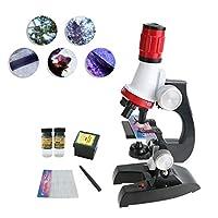 子供用の顕微鏡セット 初心者向け マイクロスコープ LED光源付き 100-1200倍率 科学実験 知育玩具 自主研究 自主学習 小学生向け 昆虫 細胞 ミクロ おもちゃ プレゼント