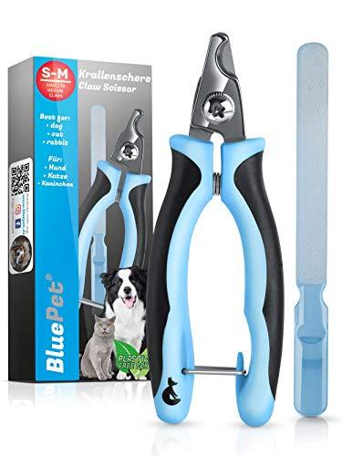 Bluepet® KrallenSchön kleine Krallenschere Nagelschere für kleine Hunde, Katzen & Kleintiere - Inklusive großer Nagelfeile zur optimalen Krallenpflege - Als Krallenzange & Krallenschneider