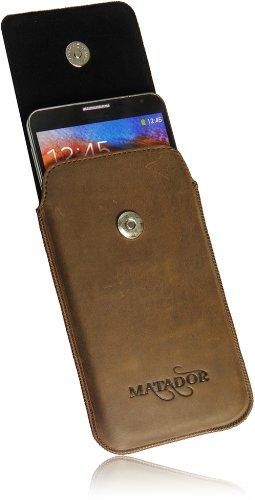 MATADOR Slim Design Vintage Look Antik Echt Leder Tasche für Huawei Ascend W1 Handytasche Schutz Hülle Etui Vertikaltasche Tabacco mit Magnetverschluß und Ausziehhilfe - 4