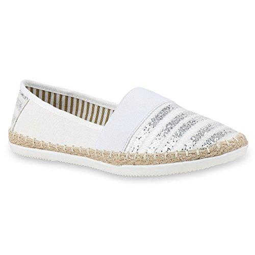 stiefelparadies Bequeme Damen Espadrilles Bast Slipper Metallic Glitzer Flats Freizeit Sommer Schuhe 133157 Weiß White 40 Flandell
