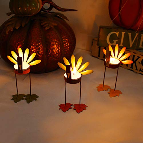 Decorative Candle Holder Thanksgiving Turkey Decorations Set of 3, Metal Turkey Home Decor Accent Rustic Tealight Candle Holder Centerpiece for Dining Room Table, Coffee Table Decor