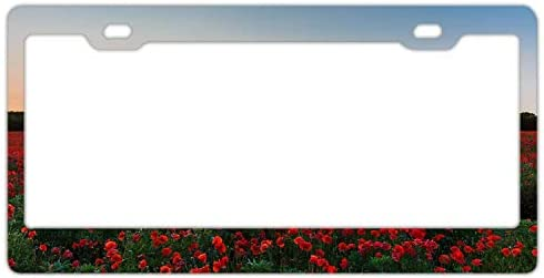 DKISEE License Plate Frame Fire Red Poppies Trees Sunrise Aluminum License Plate Cover Novelty product image