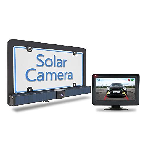 PARKVISION Solar Digital Wireless Backup Camera Kit,DIY No Wiring No Drilling Install,4.3 Inch HD Monitor with Digital Wireless Signal Rear View Camera System for Trucks,SUV
